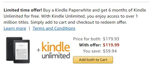 Kindle Paperwhite Now Comes With 6 Months Kindle Unlimited e-Reading Hardware Kindle