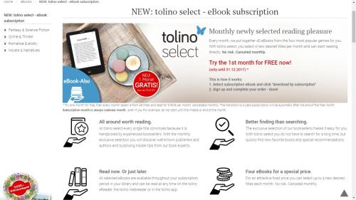 Tolino Launches a Very Limited eBook Subscription Service, Tolino Select eBookstore Subscriptions