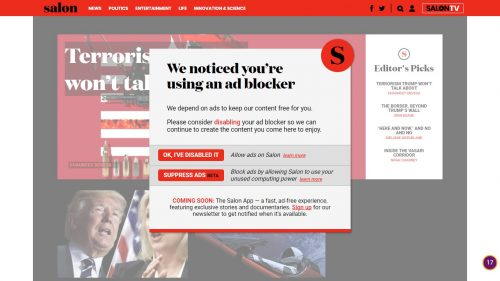 Salon.com No Longer Lets You Read Stories for Free - Wants to Use Ad-Blocking Readers' CPUs to Mine Bitcoin Advertising