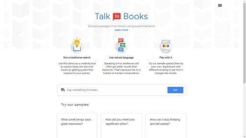 "With ""Talk to Books"", Google Wants to Replace English Lit Professors Google Books"