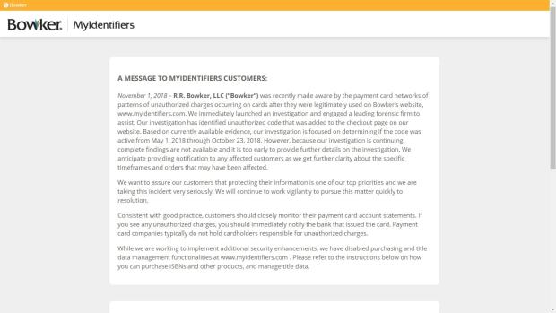 Bowker's ISBN SIte Has Been Hacked, and Credit Card Numbers Have Been Stolen Uncategorized