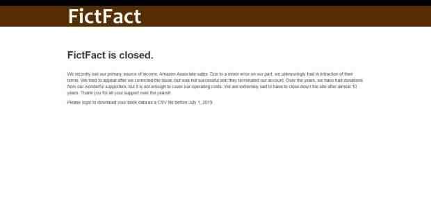 FictFact is Shutting Down Amazon