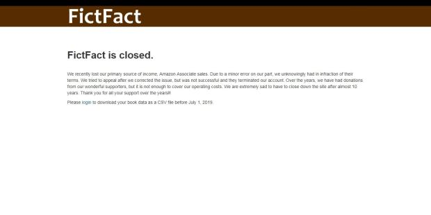 FictFact is Shutting Down Amazon