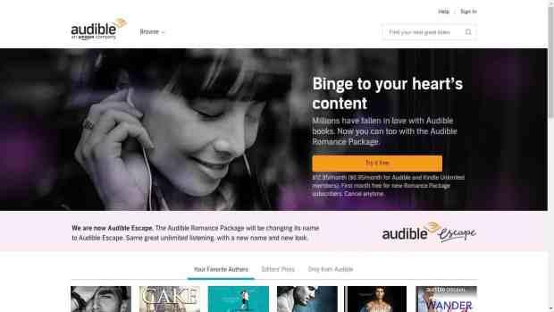 """Audible Renames Audible Romance Package as """"Audible Escape"""" Amazon Audiobook"""