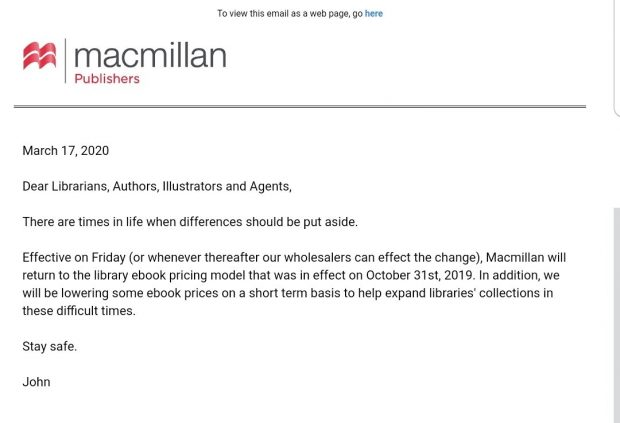 Macmillan Reverts Library eBook Licensing Terms in Response to COVID-19 Library eBooks