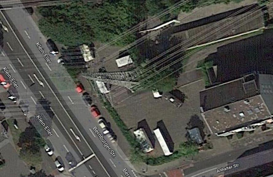 Der Strommast an der Ecke Klein-Eller / Anhalter Straße