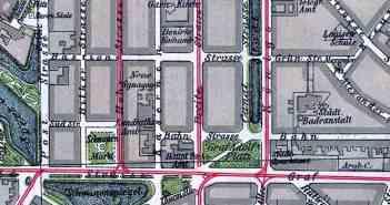 Ausschnitt aus einem Stadtplan von 1903 - hier lässt sich das Wirken Marx' schon ablesen