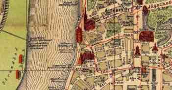 Stadtplan: Das Rheinufer vor der Altstadt um 1909