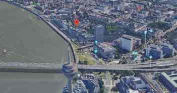 Google-Map: Das Rheinufer vor der Altstadt heute