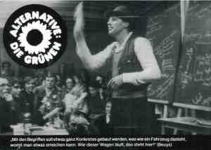 Postkarte von 1980: Die Grünen und Joseph Beuys
