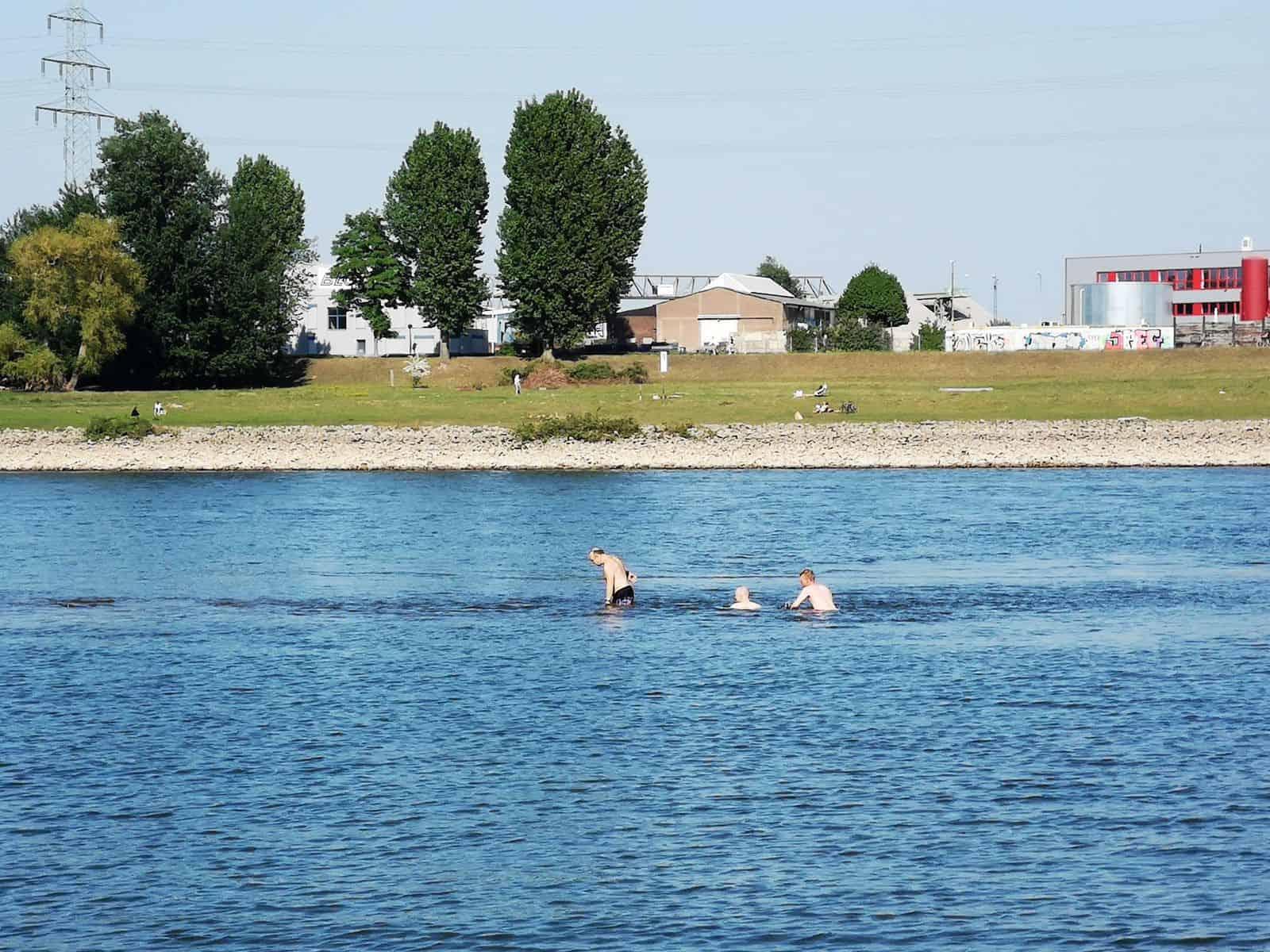 2020: Schwimmer im Rhein bei Neuss bringen sich in Lebensgefahr (Foto: TD)