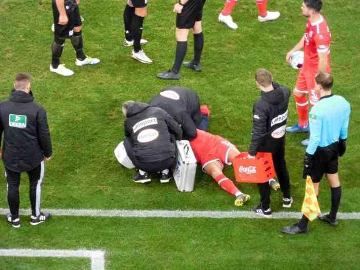 F95 vs Osnabrück: Da hätte es Rot gegen den VfLer geben müssen. (Foto: TD)