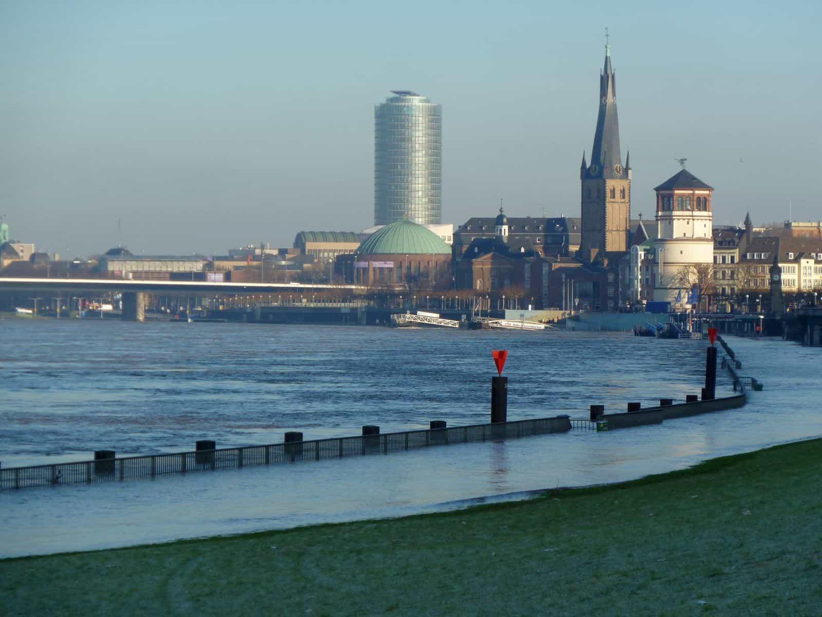 10.1.2011: Das untere Rheinwerft unter Wasser (Foto: TD)