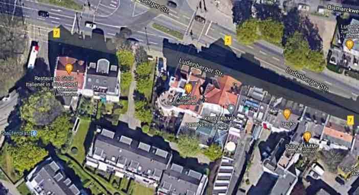 Google-Map: Staufenplatz mit dem AarabesQ im Jägerhaus in der Bildmitte