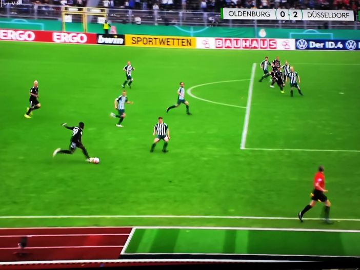 VfL Oldenburg vs F95: Das erzwungene Eigentor zum 2:0 (Screenshot Sky)