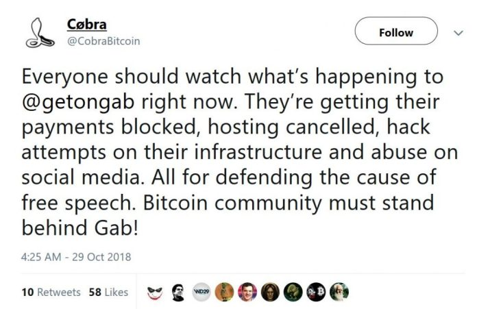 The Daily: Outcry Over Censoring of Gab, Chinese State Media Plugs Bitcoin Book