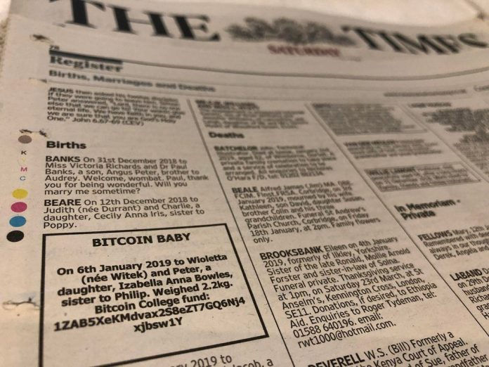 Newspaper Ad Seeks Donations for Bitcoin Baby's College Fund
