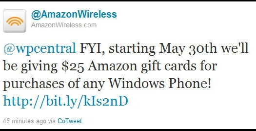 Deals: Buy A Windows Phone from AmazonWireless Get a $25 Gift Card