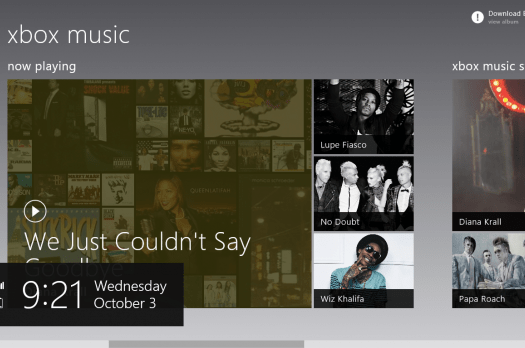The Charms Bar in Xbox Music on Windows