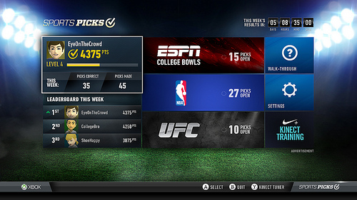 Microsoft Introduces Sports Picks App for Xbox LIVE