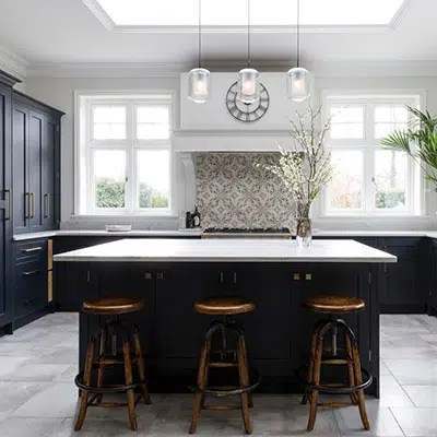 Navy Shaker Kitchen Designed Installed Bespoke Black Blue Kitchens