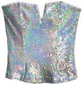 H&M - Sequined Bustier - Silver-colored - Ladies