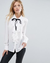 Mango Pussy Bow Blouse With Frill Front Detail