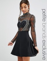 Maya Petite Long Sleeve High Neck Mini Dress With Embellished Bodice And Sleeves