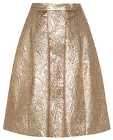 Metallic Wool And Silk-blend Jacquard Cloqué Skirt