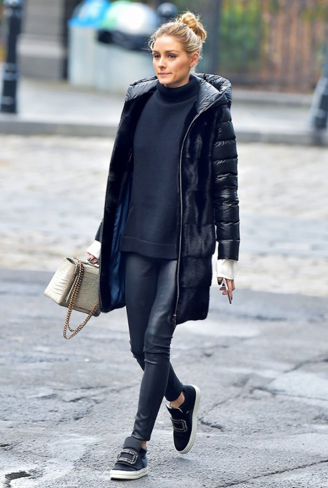 Olivia Palermo street style puffer coat