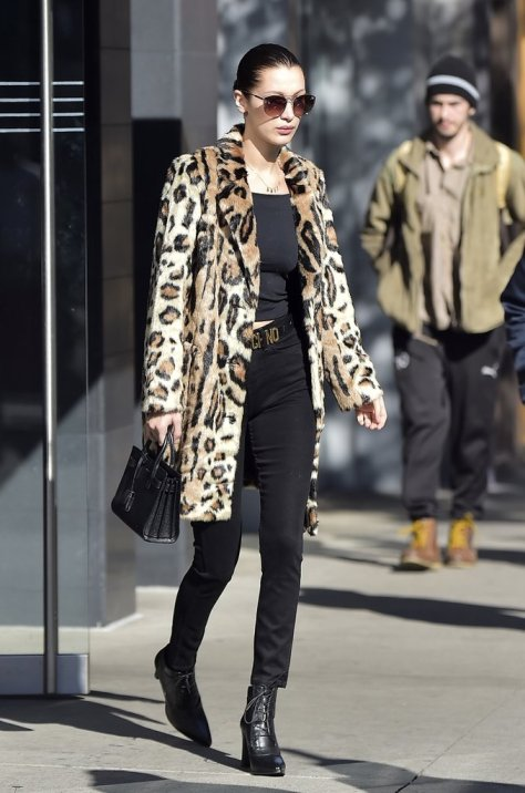 Bella Hadid incorporated some leopard into her all-black ensemble.