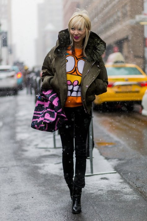 Soo Joo Park fought off the Winter blues in a funky graphic top during New York Fashion Week.