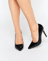 By Dune Audrine Patent Black Heeled Pumps