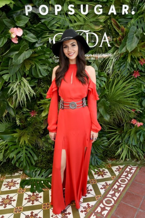Victoria Justice wearing a cutout red maxi dress by Chelsea and Walker and Ash mules at the POPSUGAR x CFDA brunch.