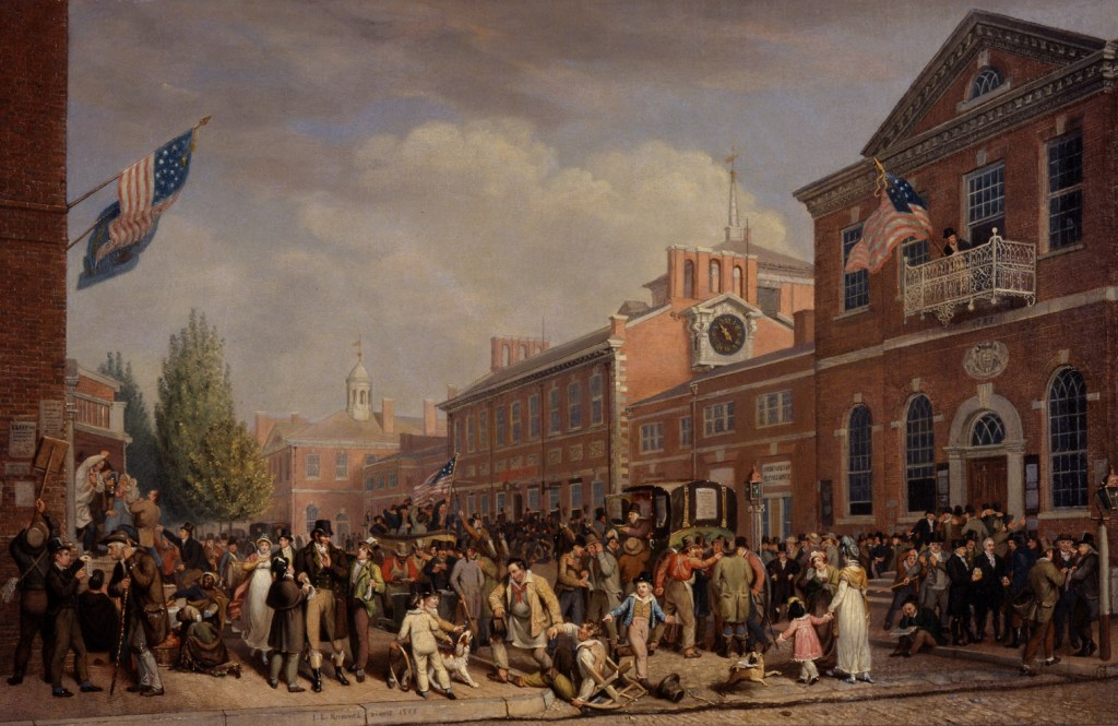 Depiction of first US presidential elections in Philadelphia by John Lewis Krimmel, 1815