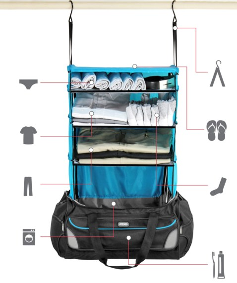 This travel bag has a shelving system that organizes your clothes     This travel bag has a shelving system that organizes your clothes