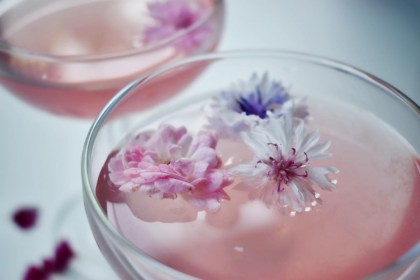 Hibiscus Cocktail With Edible Flowers