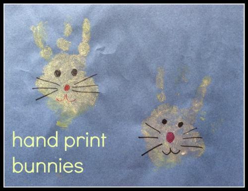 hand print bunnies