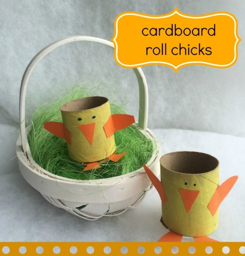 cardboard roll Easter chicks