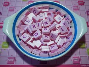 pink Scrabble tiles