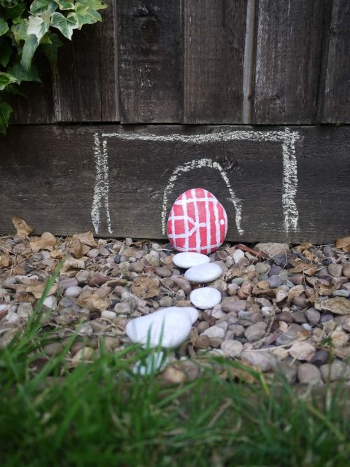 painted stone fairy door - the gingerbread house