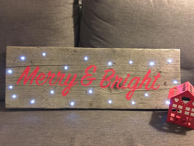 upcycled festive sign with lights