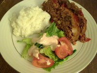 Three Pepper Spicy Meatloaf with Cowboy Salad