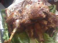 Roasted and carved goose