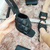 BLACK FAUX LEATHER SQUARE TOE QUILTED HEEL MULE