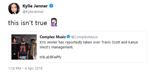 Kylie Jenner Shuts Down Rumors