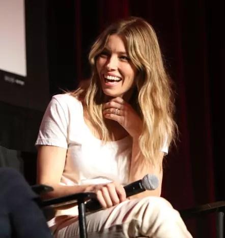 Jessica Biel Sits and Laughs