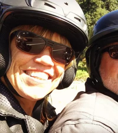 Amy Roloff on a Motorcycle