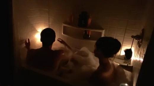 "Brandon Gibbs and Julia Trubkina in the tub for bath tub ""spa day"""