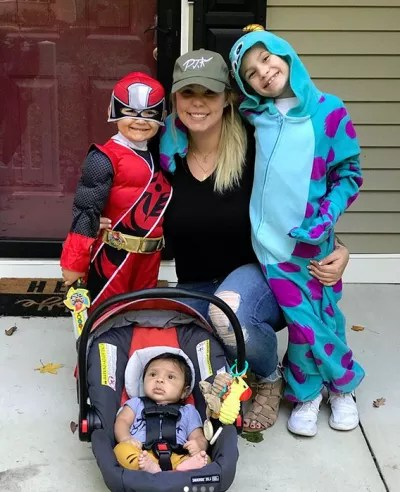 Kailyn Lowry with Isaac, Lincoln, and Lux - Halloween 2017